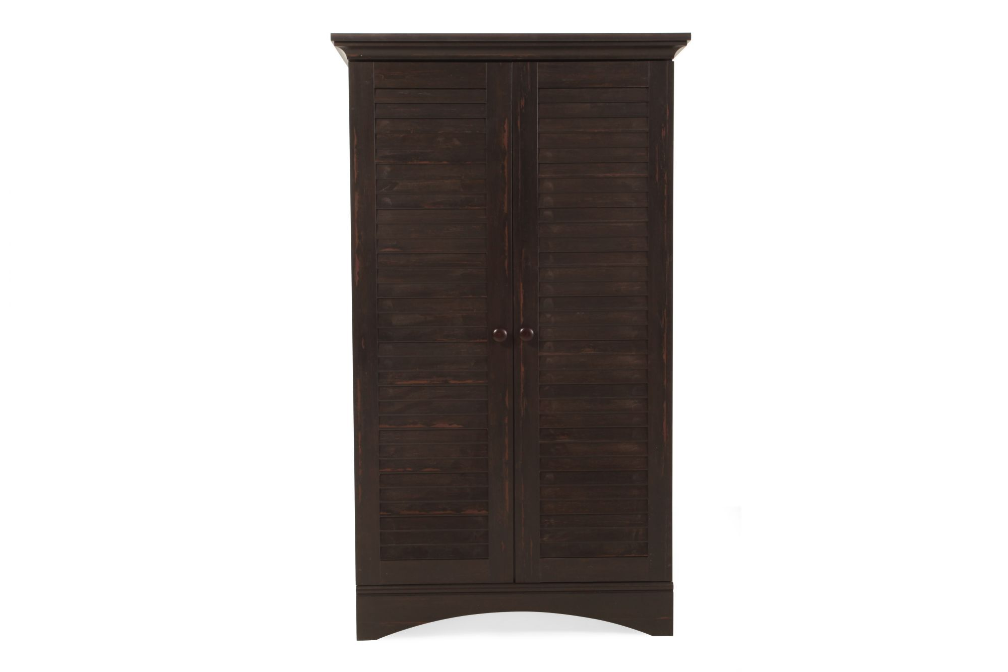 Louver Two Door Contemporary Storage Cabinet In Dark Brown Mathis Brothers Furniture