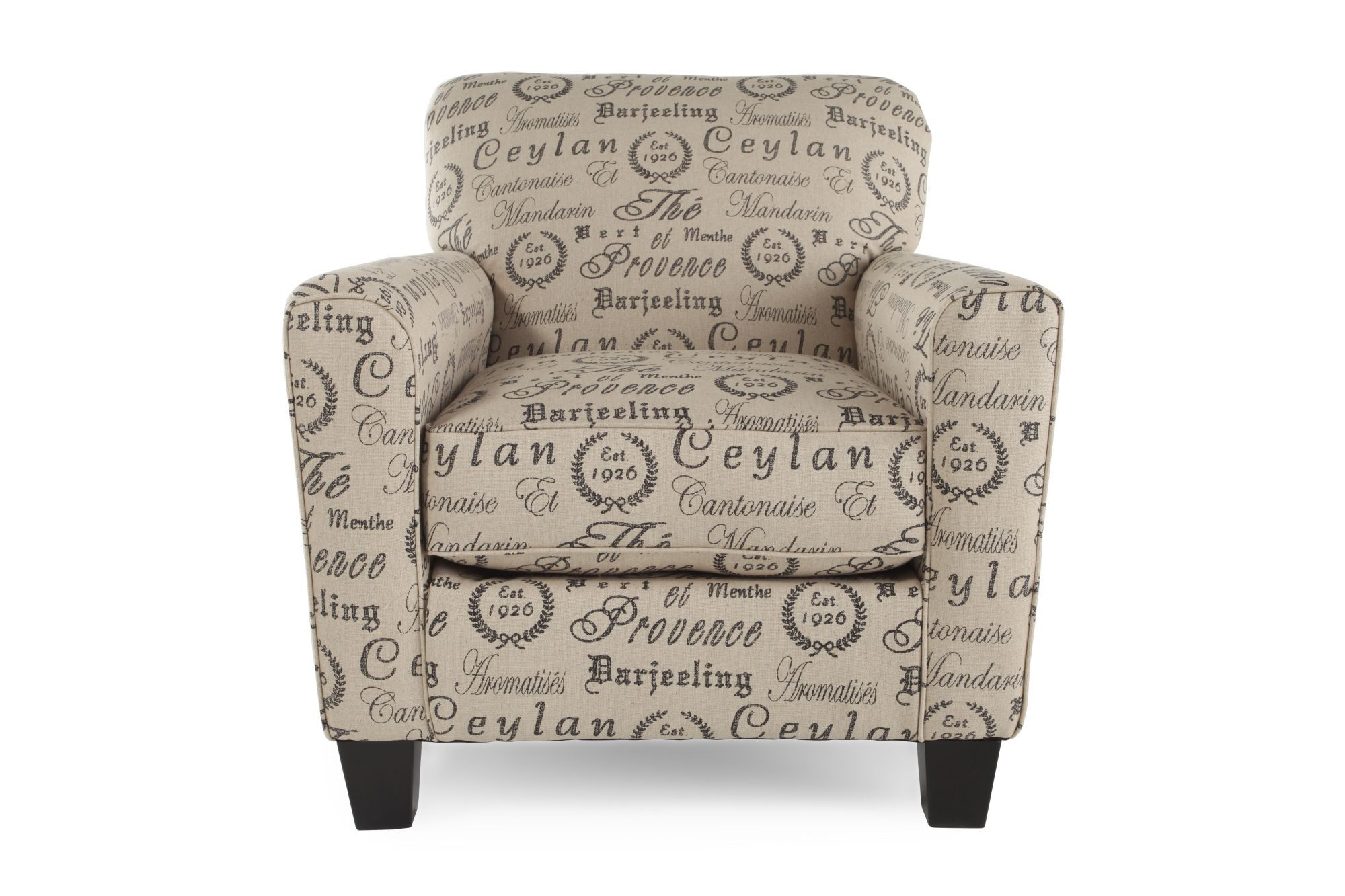 Bon Printed Casual Accent Chair In Latte