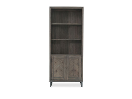 Two-Door Mid-Century Modern Adjustable Shelf Bookcase in Dark Brown