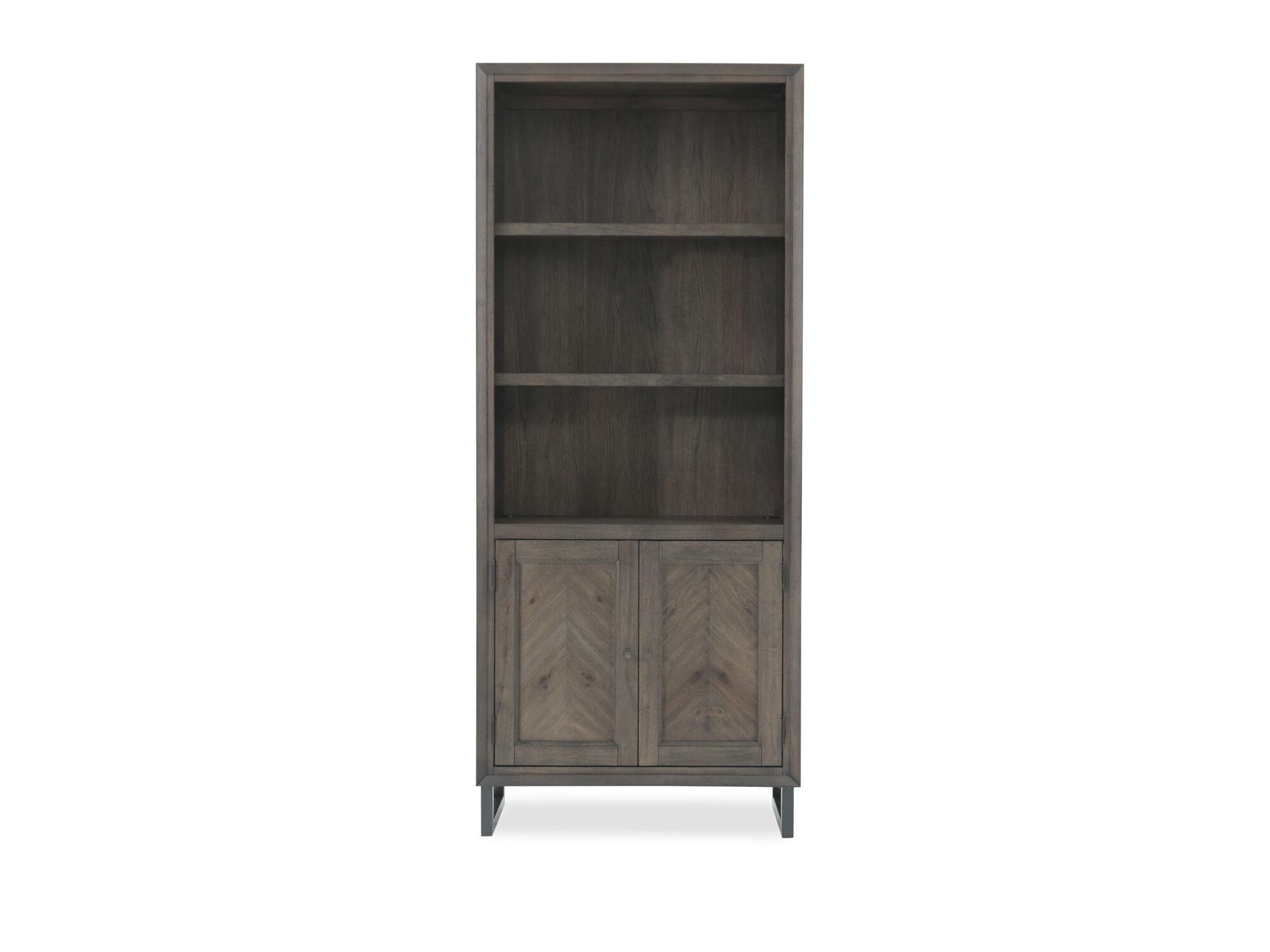 Images Two Door Mid Century Modern Adjustable Shelf Bookcase In Dark Brown  ...