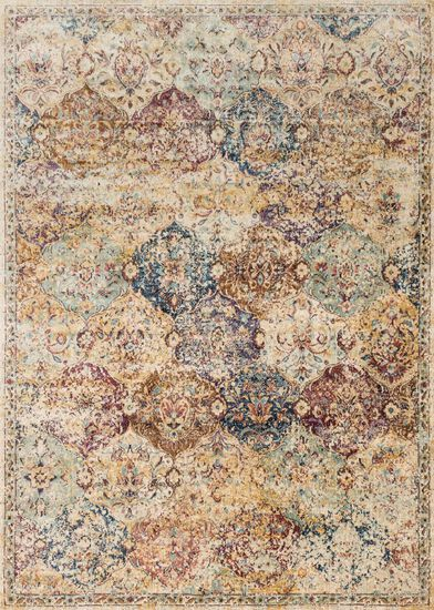 "Transitional 2'-7""x4' Rug in Ivory/Multi"