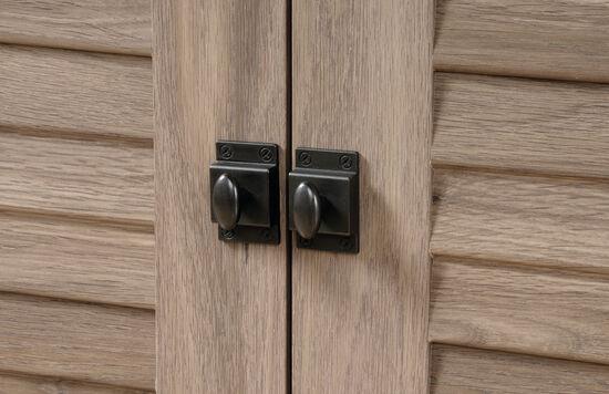 Louver Panel Door Transitional Credenza in Salt Oak