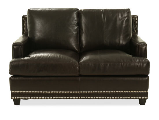 Nailhead-Trimmed Leather Loveseat in Brown