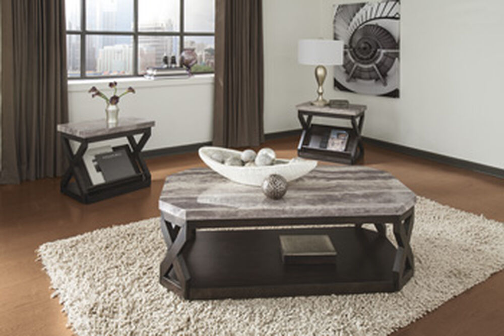 Three Piece Printed Contemporary Occasional Table Set In Brown Mathis Brothers Furniture