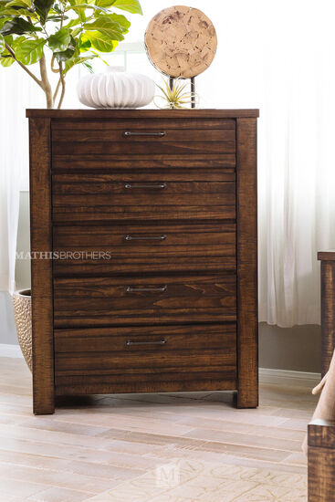 """48.5"""" Five-Drawer Traditional Chest in Tobacco"""