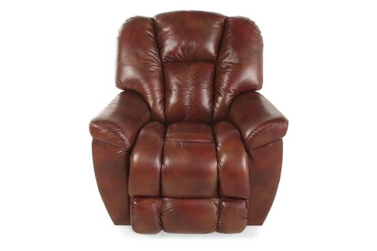 "Contemporary 38"" Leather Recliner in Mahogany"