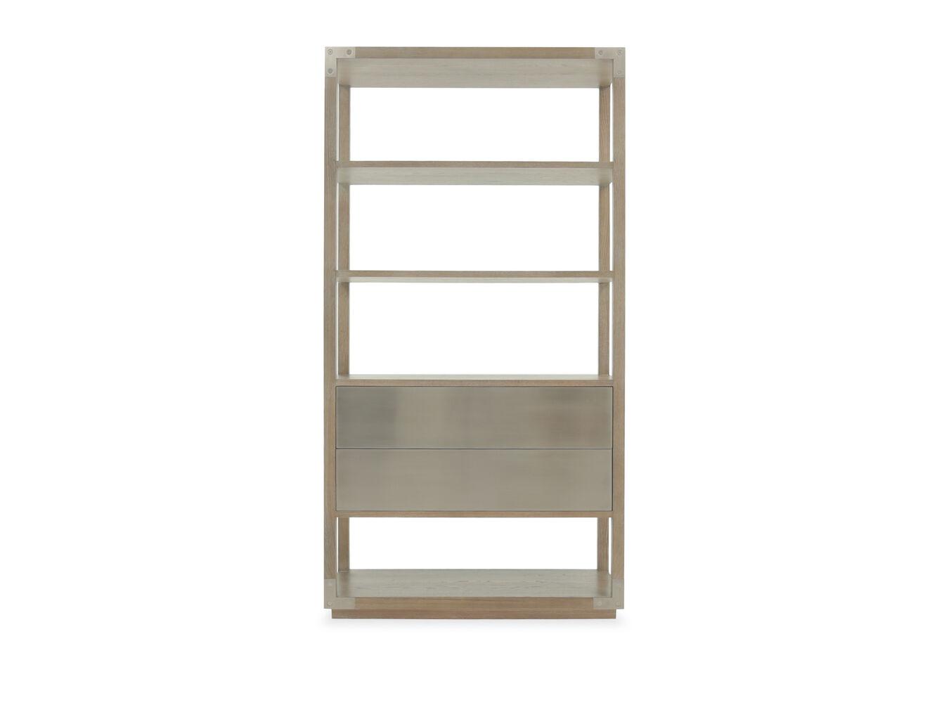 five shelf modern etagere in rustic sand mathis brothers. Black Bedroom Furniture Sets. Home Design Ideas