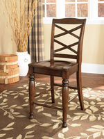 "X-Back 44.5"" Armless Bar Stool in Burnished Brown"