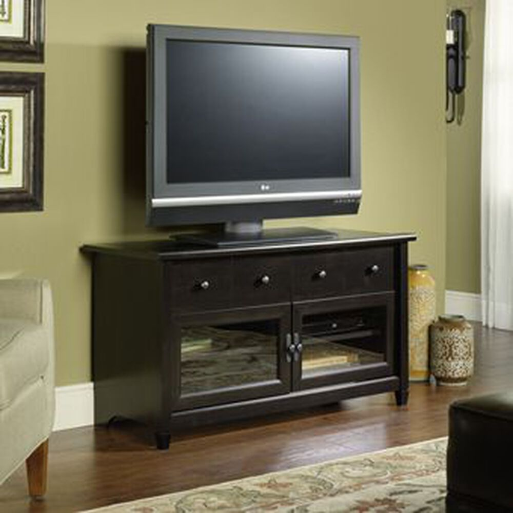 Tempered Glass Door Tv Stand In Estate Black Mathis Brothers Furniture