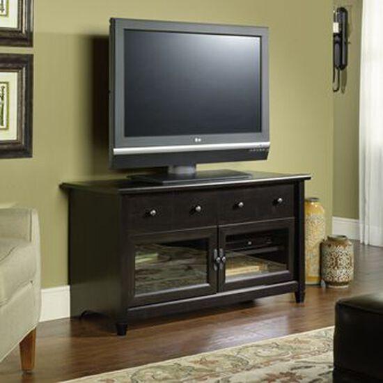 Tempered Glass Door TV Stand in Estate Black