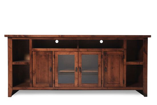 Two-Glass Door Casual Entertainment Console in Warm Fruitwood