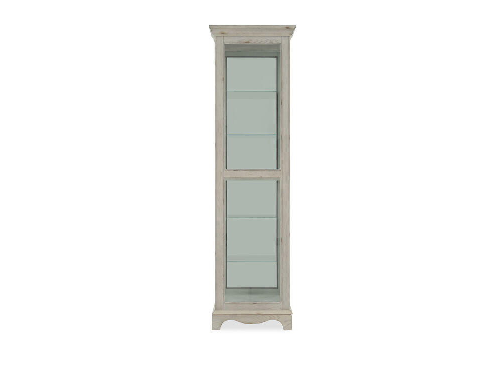 Clear Glass Casual Weathered Curio Cabinet In White