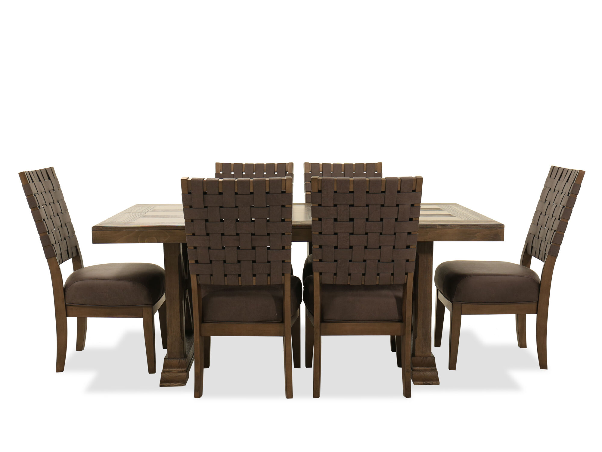 Images Seven Piece Dining Set In Brown