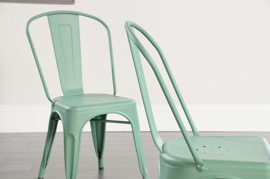 Two-Piece Contemporary 33.5'' Café Chair Set in Matte Green