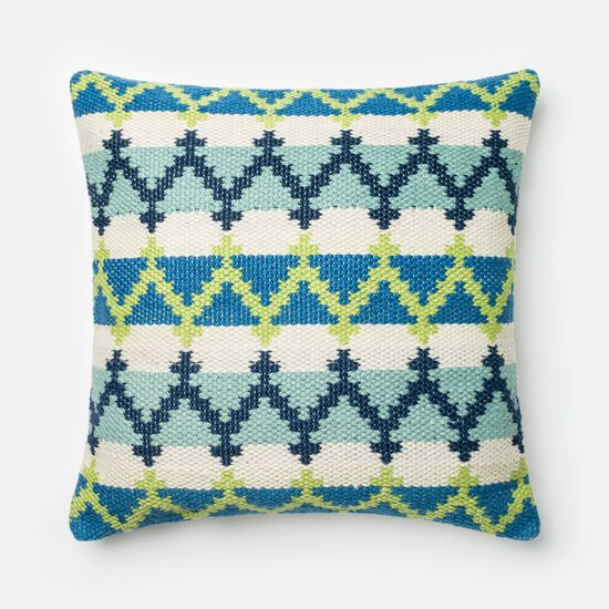 """Contemporary 22""""x22"""" Cover w/poly pillow in Blue/Green"""