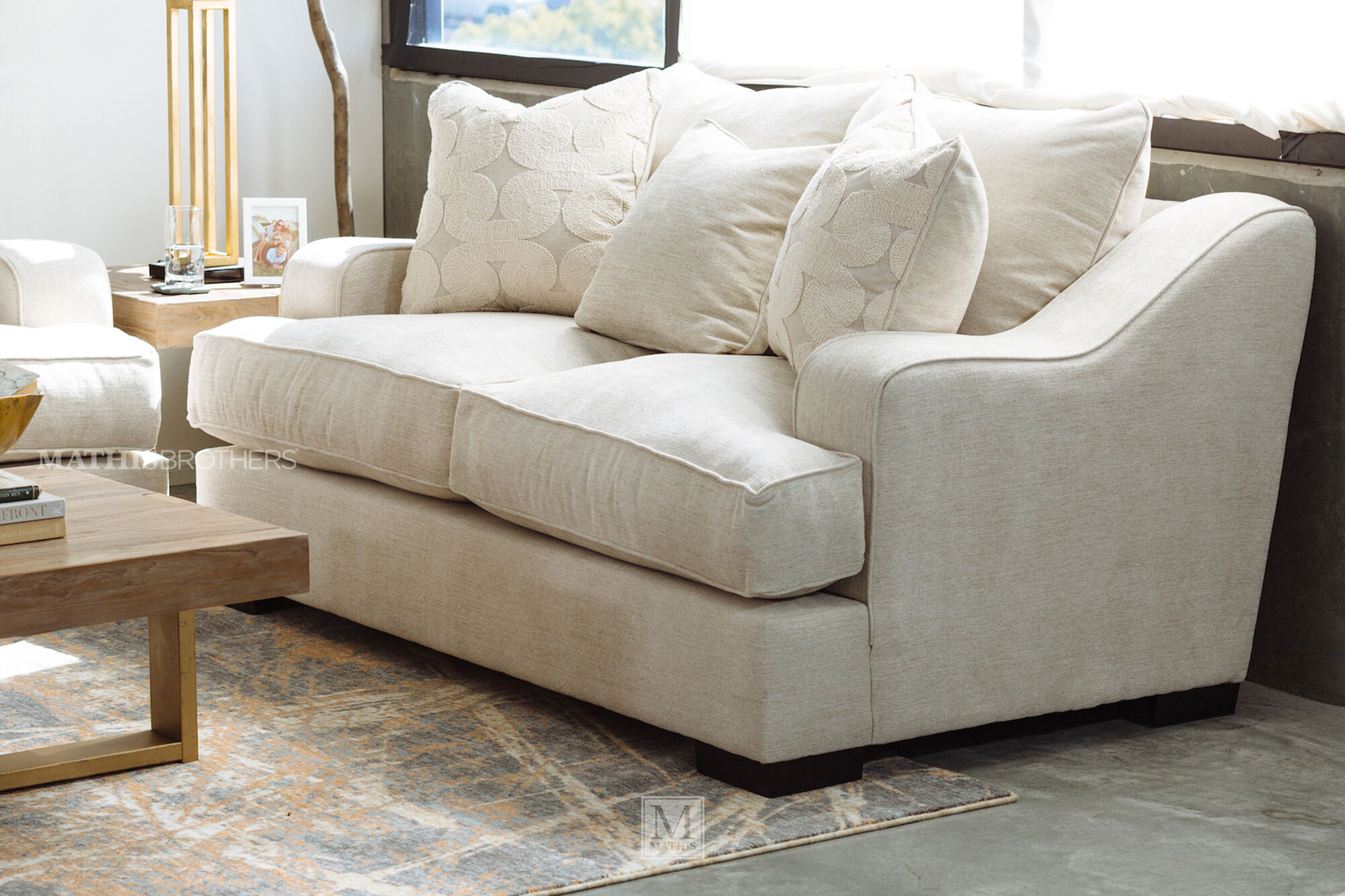 Straight Arm Casual 62 Quot Chair In Beige Mathis Brothers