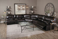 """91"""" Power Reclining Leather Sofa in Blackberry"""
