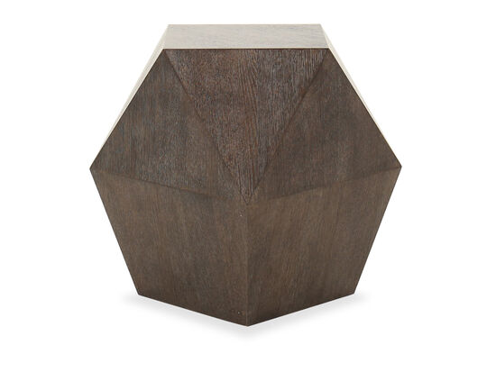 Modern Triangular-Plane End Table in Cerused Charcoal