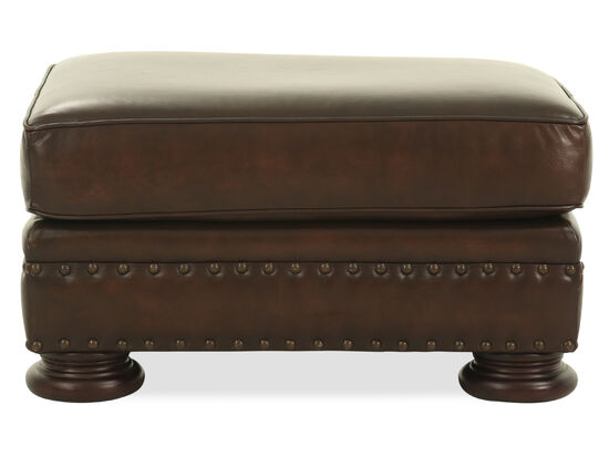 "Nailhead Accented 32"" Leather Ottoman in Brown"