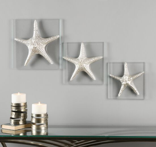Three-Piece Starfish Glass Plaque in Metallic Silver