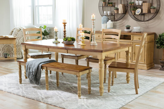 "Country 60"" to 78"" Rectangular Dining Table in Almond Wheat"