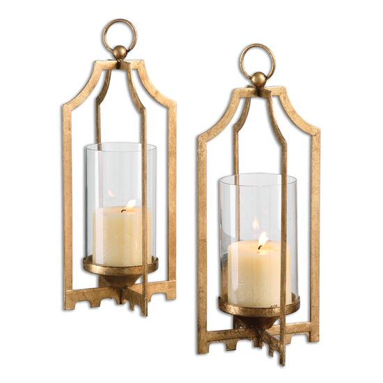 Two-Piece Candle Holder Set in Metallic Gold