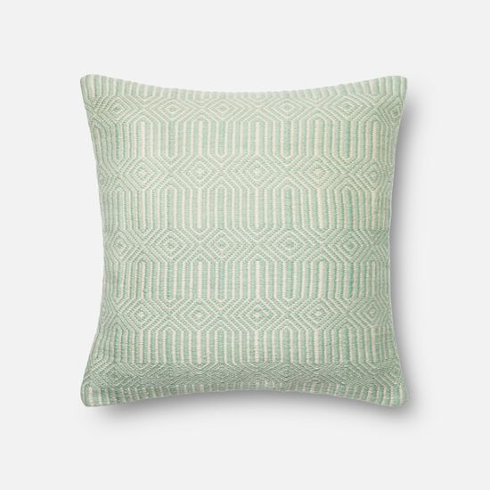 """Indoor/Outdoor 22""""x22"""" Cover w/Poly Pillow in Aqua/Ivory"""