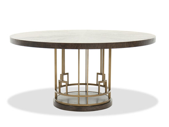 """Contemporary 60"""" Round Dining Table in Brown"""