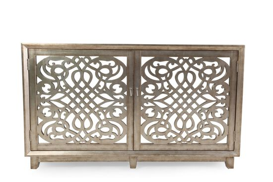 Fretwork Doors Contemporary Accent Console in Light Brown