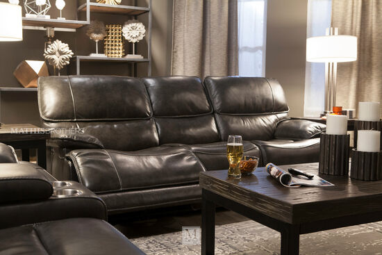 """Leather 90"""" Power Reclining Sofa in Charcoal"""