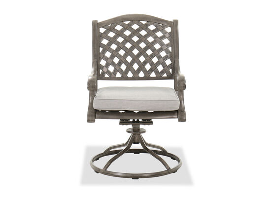 Aluminum Dining Swivel Rocker Chair in Gray