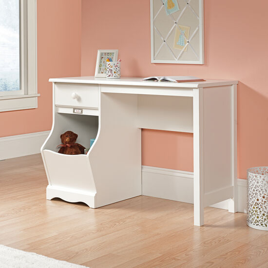 "43"" Solid Wood Storage Desk in Soft White"