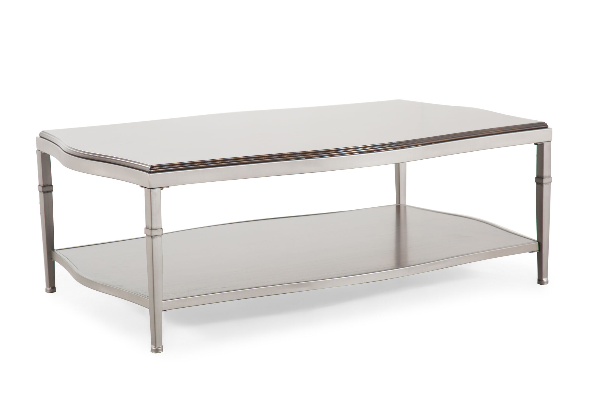 Open Shelf Traditional Cocktail Table In Pewter Mathis