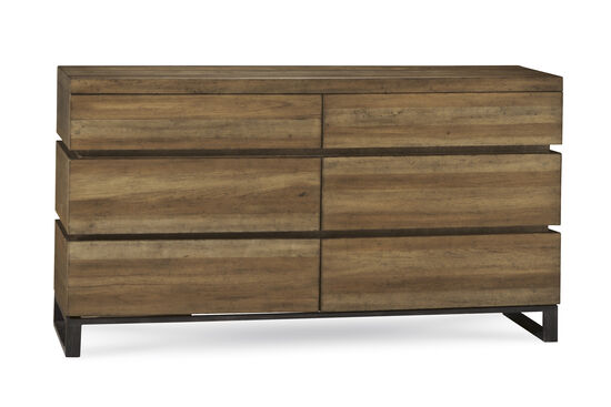 "36"" Mid-Century Modern Six-Drawer Dresser in Brown"