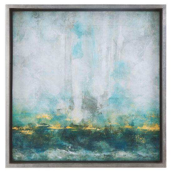 Framed Abstract Wall Art in Aqua Blue