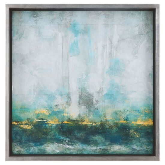 Framed Abstract Wall Art in Aqua Blue