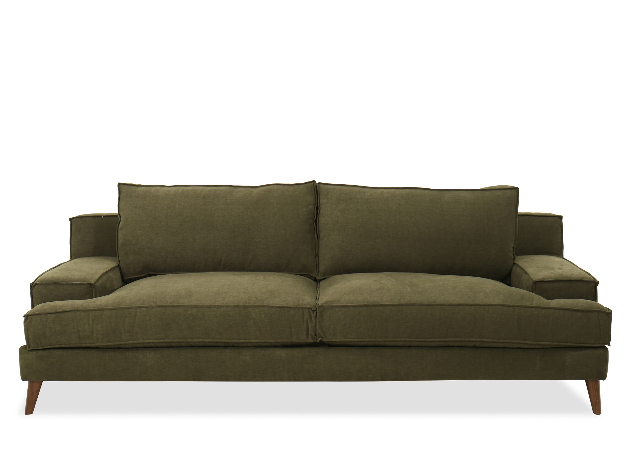 Modern Low Profile Plush Sofa In Forest Green Mathis