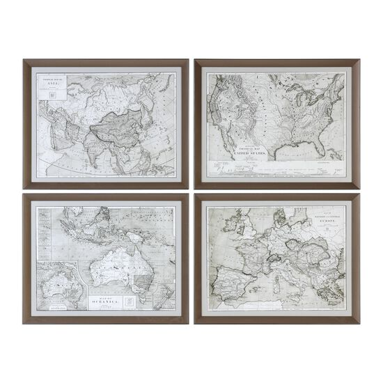 Four-Piece Framed World Maps Printed Wall Art Set in Sepia