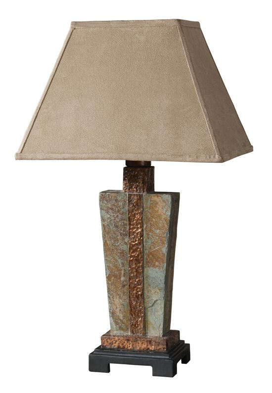 Hammered Copper-Accented Slate Accent Lamp