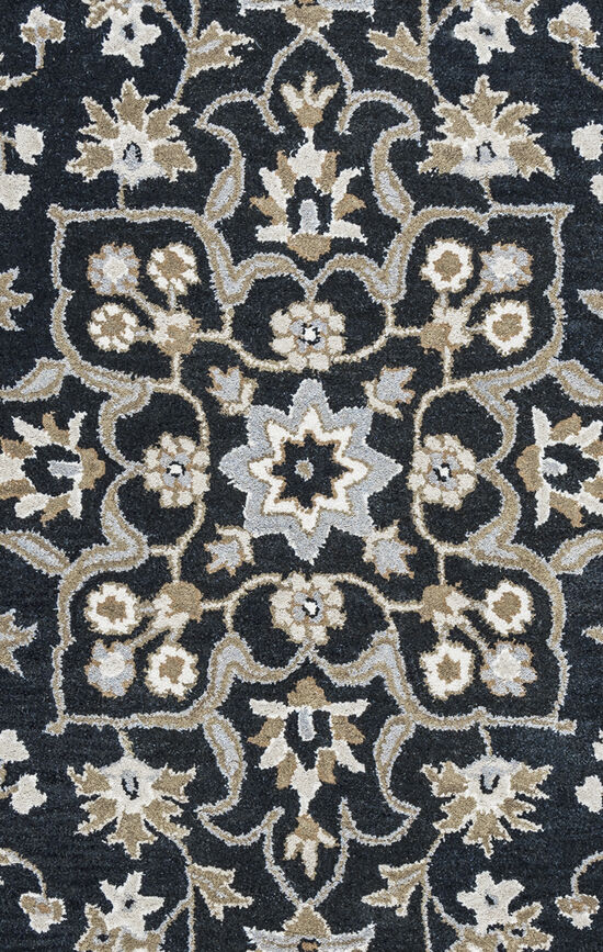 Transitional Hand-Tufted 5'  x  8' Rectangle Rug in Black
