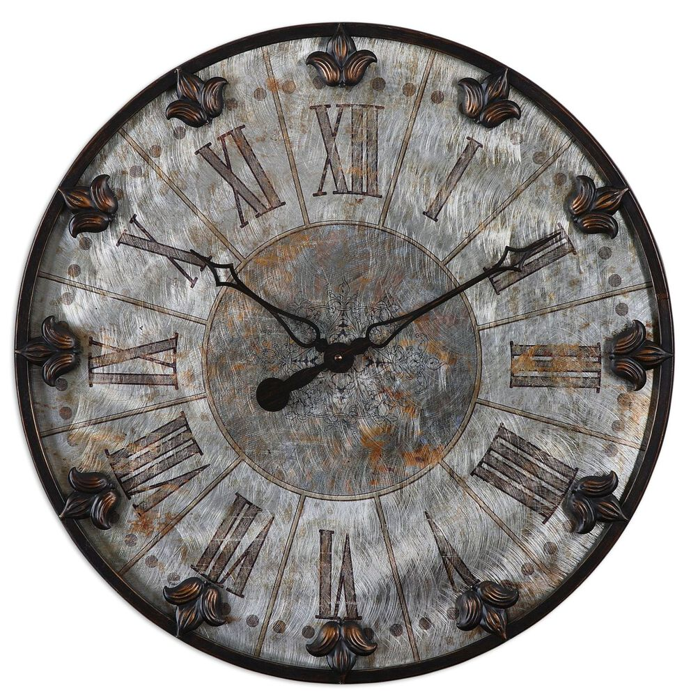Distressed Fleur De Lis Wall Clock