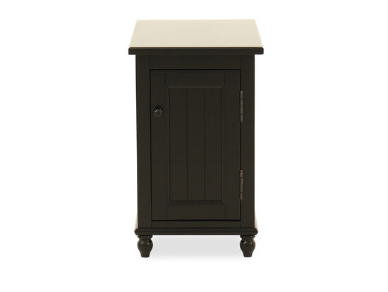 Traditional One-Door Chairside Accent Table in Ebony