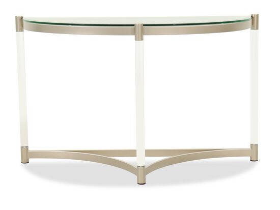 Round Contemporary Sofa Table in Platinum