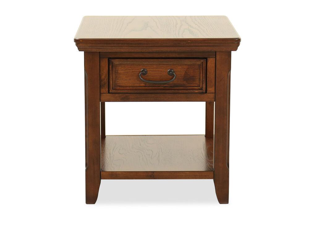 Square One-Drawer End Tablein Dark Oak
