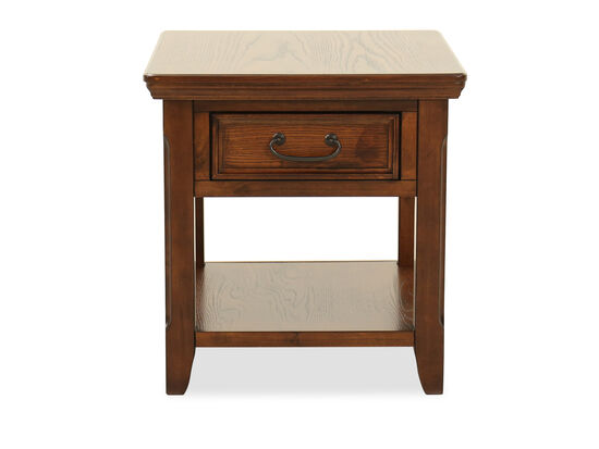 Square One-Drawer End Table in Dark Oak