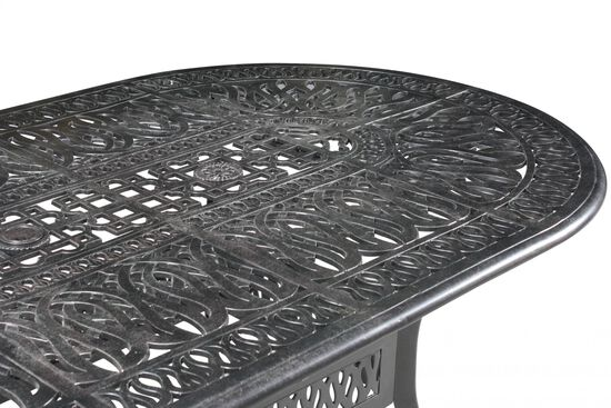 Lattice Patterned Aluminum Oval Table in Black