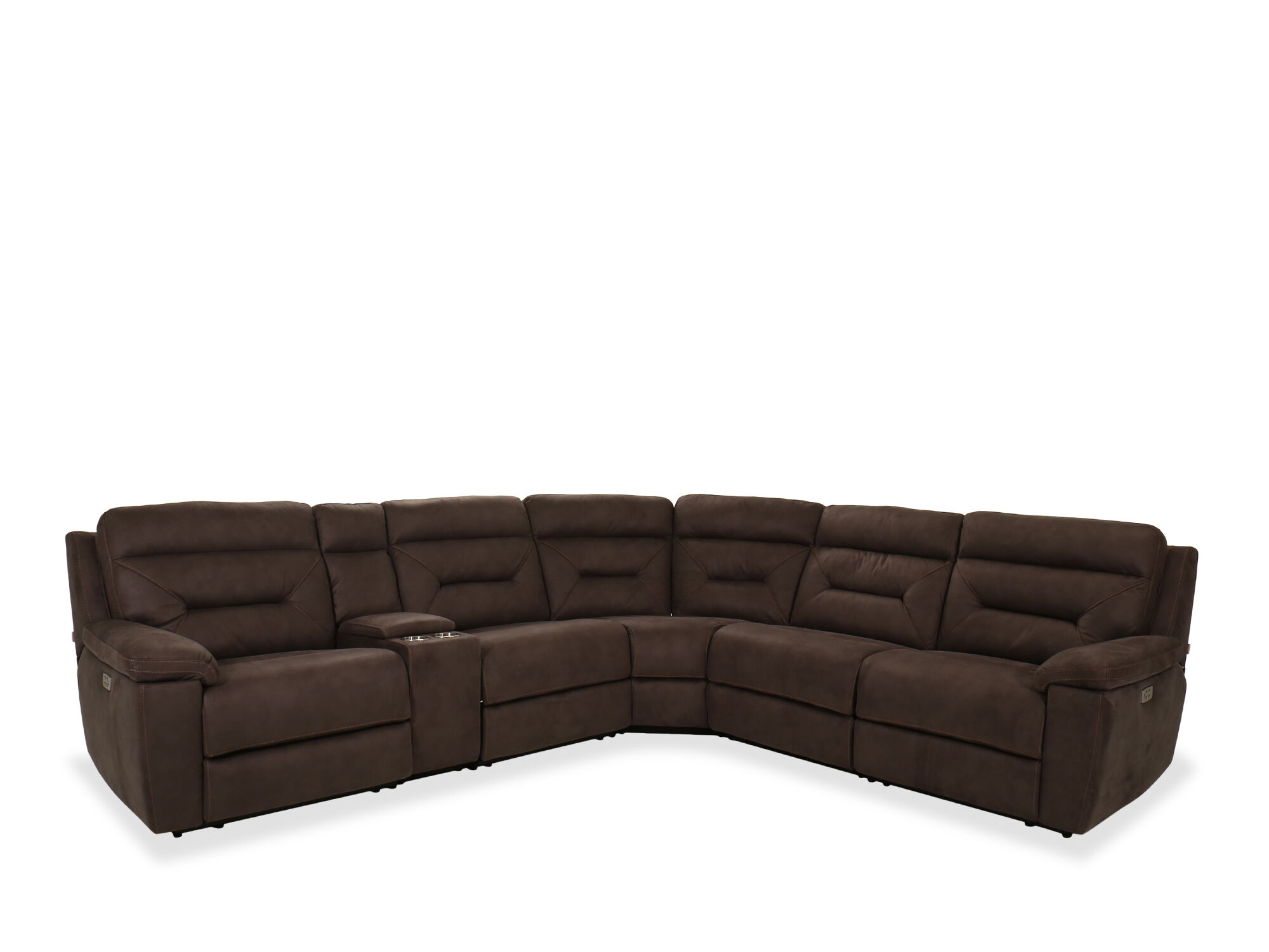 Six-Piece Leather Power Sectional in Grey  Mathis Brothers Furniture