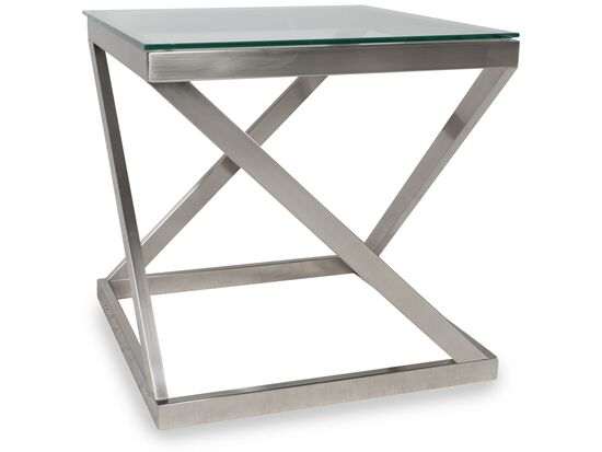 Square Glass-Top Contemporary End Table in Nickel