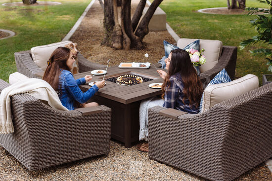 Square Aluminum Fire Pit Table in Aged Teak