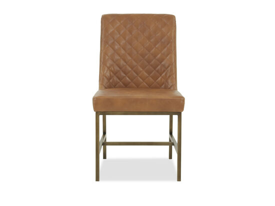 """Leather 20"""" Tufted Dining Chairin Caramel"""